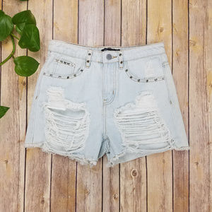 NWT Nasty Gal High Waist Distressed Shorts Sz 2